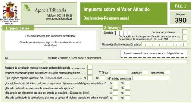 Modelo 390 - Guía rápida para presentar el resumen anual IVA